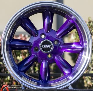 15x7 5 Str 503 4x100 Puprple Wheel Fit Honda CRX Del Sol Fit Civic SI