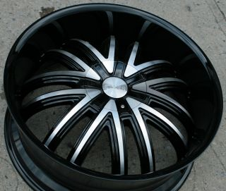 STARR 407 22 BLACK RIMS WHEELS FORD FUSION FLEX MUSTANG / 22 X 8.5 5H