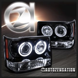 Glossy Black 99 04 Jeep Grand Cherokee Halo Projector Headlights Gift