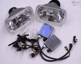 HID Headlight Conversion Kit w Real 6000K H4 Bulbs 7x6 Chrome Housings