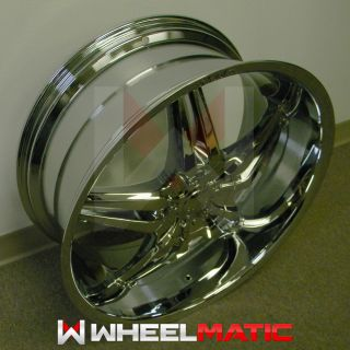 Set of 4 New 24 5x127 135 Player Shooz S007 Chrome Wheels Rims