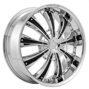 24 Wheels Rims Package Free Tires Starr 777 Triple Chrome Black 6x135