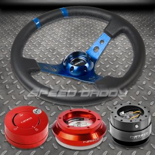 NRG Blue Steering Wheel Red Hub Gun Metal Quick Release Lock Civic EK