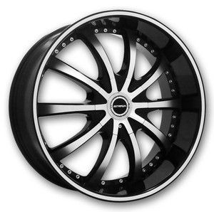 22 inch Strada Sole Black Wheels Rims 5x115 15