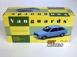 Ford Fiesta MK1 1 1L 1 43 Scale Model Car by Vanguards Nordic Blue