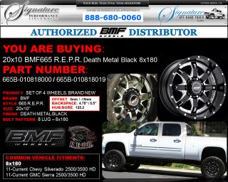 BMF Repr 20x10 Death Metal Black Wheels 8x180 2011 2012 Chevy HD GMC