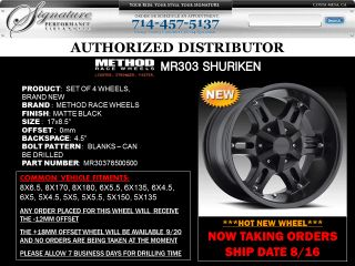 Method MR303 17x8 5 Black Wheel Blanks All Truck SUV