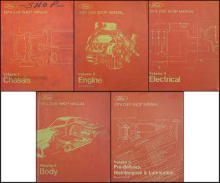 1974 Lincoln Continental and Mark IV Repair Shop Manual Set of 5 Books