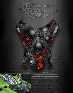 Arctic Cat Firecat 03 06 Hood Graphics Decals The Gears of Death Red