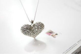 AG4571 New Fashion Jewelry Silver Retro Hollow Heart Pendant Necklace