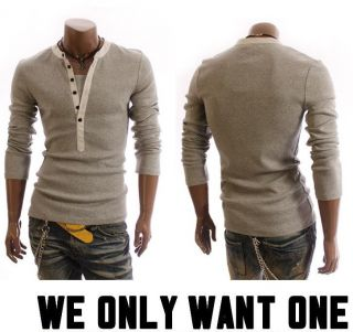 New Mens Stylish Casual Formal Stretch Slim Fit Sexy Looking Henley