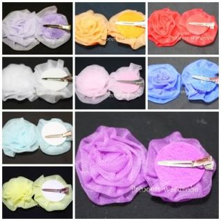 Chiffon Flower Rosettes Pointed Hair Clip 4 Pettiskirt