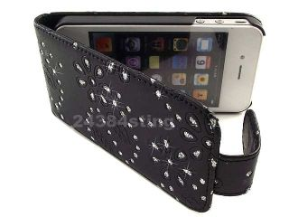 DIAMOND BLING GLITTER LEATHER FLIP CASE POUCH for iPHONE 4S