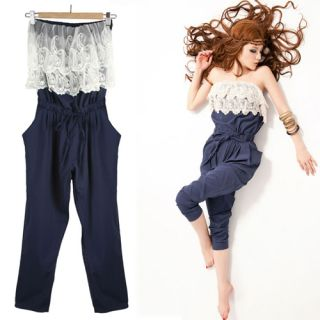 NEW Womens Strapless Floral Lace Neck Casual Jumpsuits