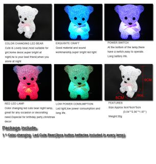 Color Changing Led Bear Lamp Night Light Cute Bear Party light