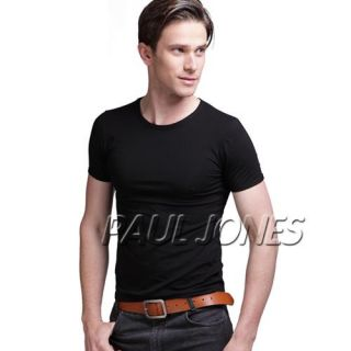 Trendy Mens Slim Fit Round neck T shirt Short Sleeve Muscle Tee black