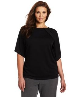 Anne Klein Womens Plus Size Flutter Sleeve Top, Black, 0X