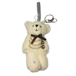 Cream Plush Teddy Bear Bejeweled Keychain Purse Charm 5.5