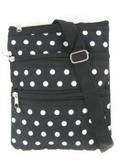 Hipster Cross Body Bag Purse Black and White Polkadot Print Shoes