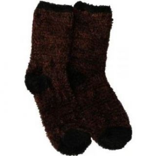 Soft and Warm Microfiber Fuzzy Socks in Brown/Black by