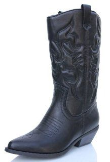Womens Cowboy Leatherette Knee High Boots Black Shoes