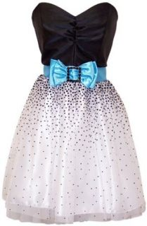 Strapless Prom Dress Holiday Party Gown Cocktail w/ Polka
