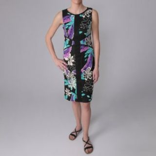 Sangria Womens Floral Print Sleeveless Dress Clothing