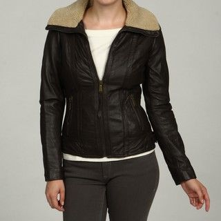 MICHAEL Michael Kors Womens Brown Leather Aviator Jacket