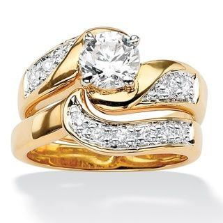 Ultimate CZ 14k Gold plated Swirled Wedding Ring Set