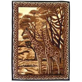 African Adventure Giraffe Black Area Rug (5x7)