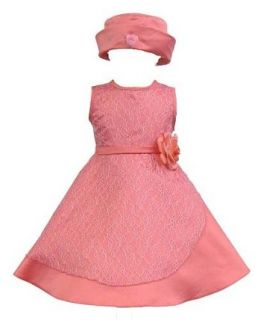 Elegant Baby Girl Coral Red Dress & Hat. Available in 12