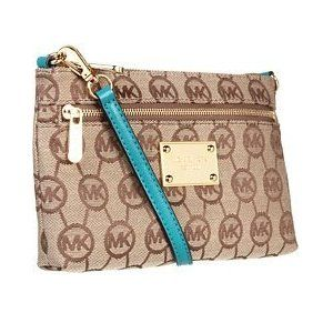 Michael Kors Jet Set Large Wristlet Monogram Jacquard AQUA Shoes