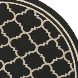 Poolside Black/ Beige Indoor Outdoor Rug (53 Round)