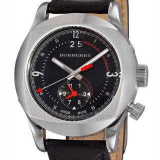 Burberry Mens Dual time Black Leather Strap Watch