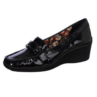 AK Anne Klein Womens Lansing Black Wedge Loafers