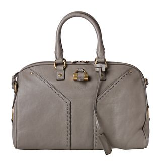 Yves Saint Laurent Muse Light Grey Leather Bowler Bag