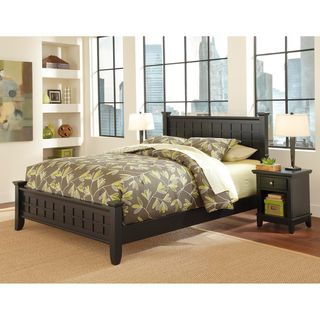 Home Styles Arts & Crafts Black Queen Bed and Night Stand