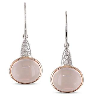 10k White gold Rose Quartz and Diamond Earrings