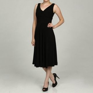 Jessica Howard Womens Black Pleated V Neck Dress