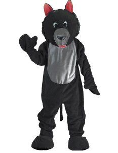 Black Wolf Mascot Adult Costume Size Standard Clothing