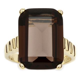 Angelina DAndrea 14k Gold plated Smoky Quartz Ring