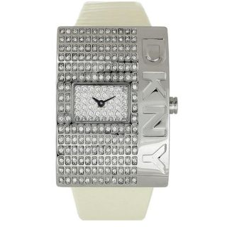 DKNY Womens Casual White Dial Leather Strap Watch