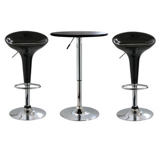 Adjustable Height 3 piece Chome/ Black Table and Chairs Set