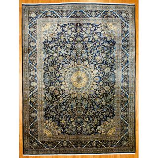Persian Hand knotted Mashad Navy Wool Rug (98 x 128)