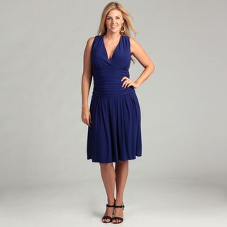 Jessica Howard Womens Blue Ruched Waist Plus Dress