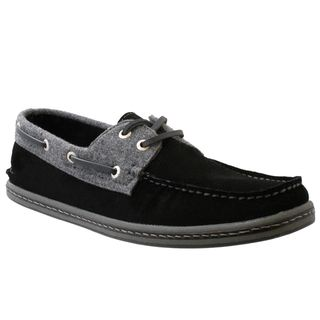 GBX Mens Black Suede Boat Shoes