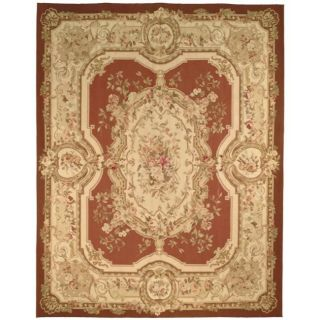 Hand knotted French Aubusson Burgundy/ Ivory Wool Rug (12 x 15