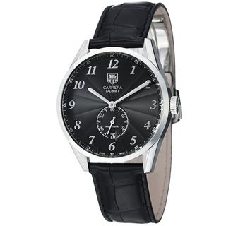 Tag Heuer Mens Carrera Black Dial Leather Strap Automatic Watch
