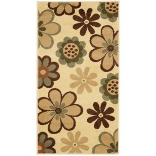 Fine spun Dasies Floral Ivory/ Green Area Rug (2 x 37)