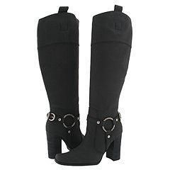 Lo Metal Black Leather Knee High Boots
